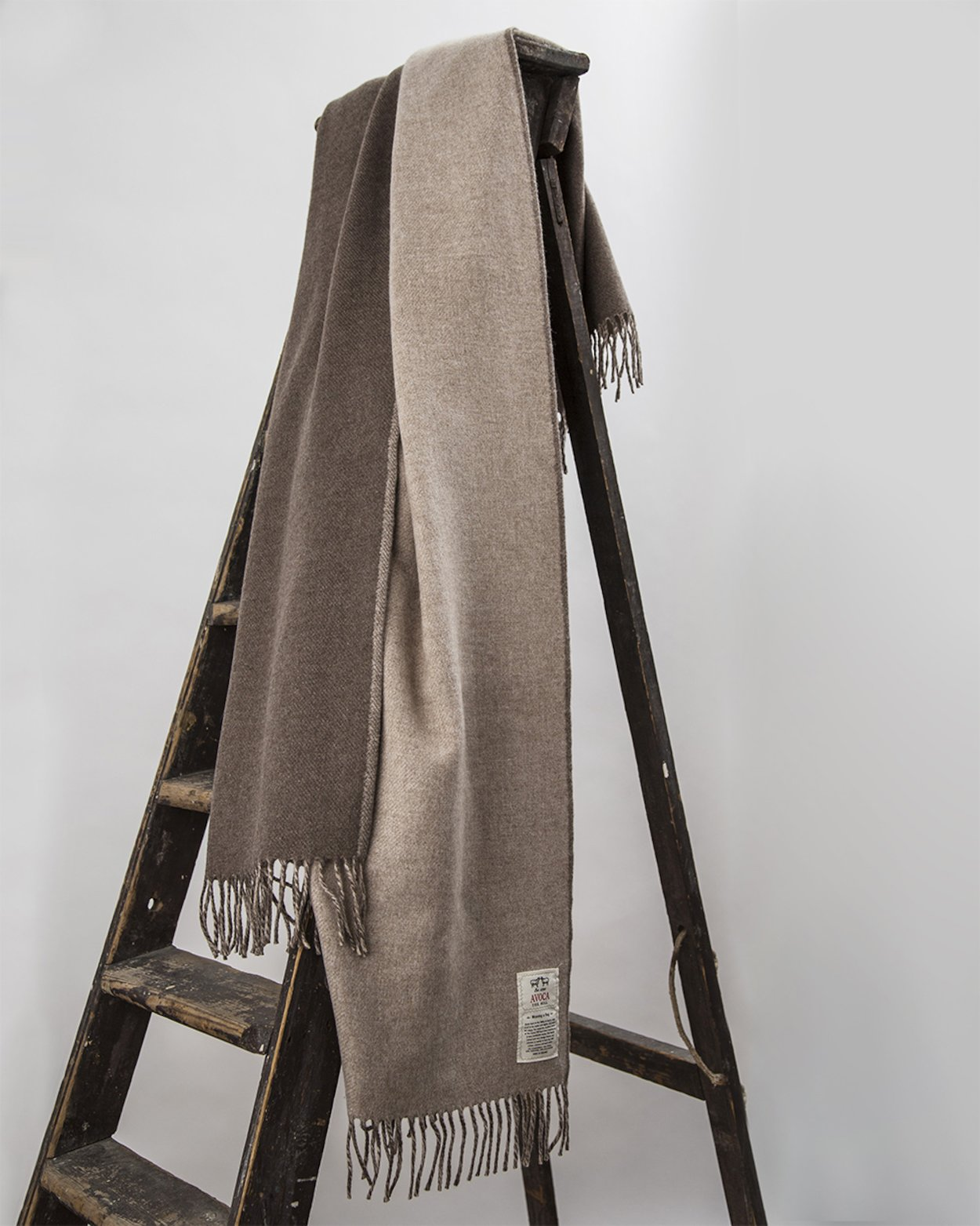 Stella Cashmere Blend Throw in Beige and Brown