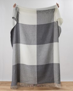 Stella Cashmere Blend Throw in Grey Check