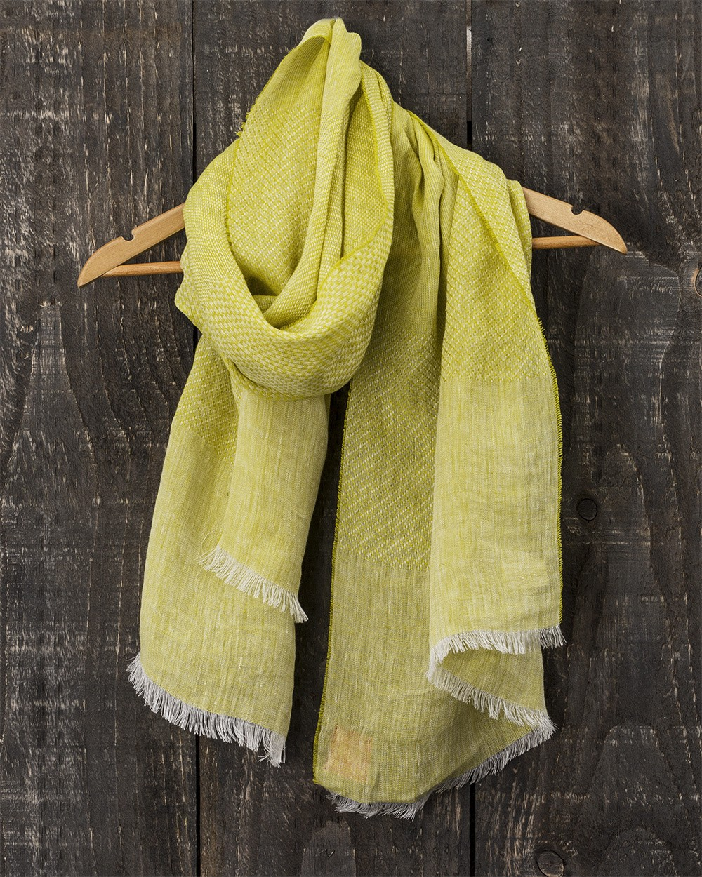 Art Linen Multi Weave Scarf in Yellow