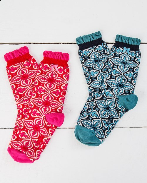 Tile Print Ankle Socks