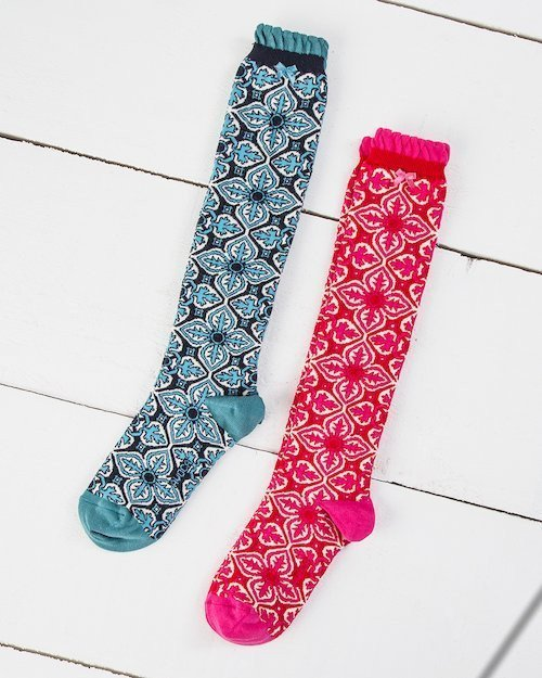 Tile Print Knee Socks