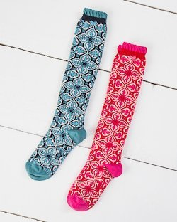 Tile Print Knee Socks