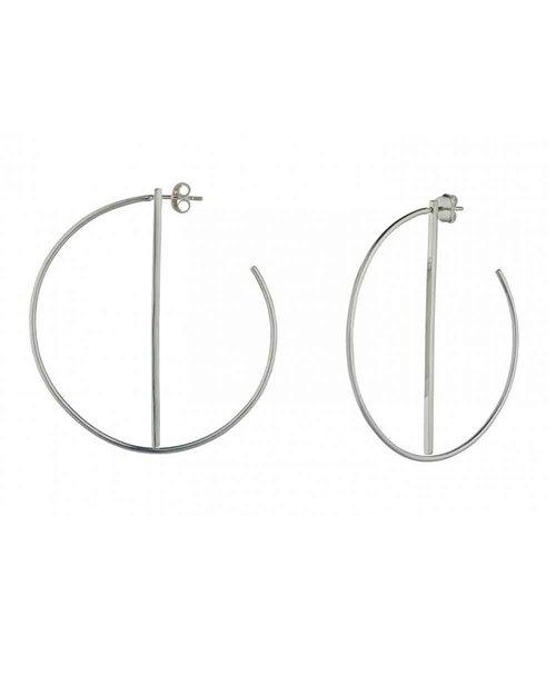 Silver Hoop Earrings With Bar
