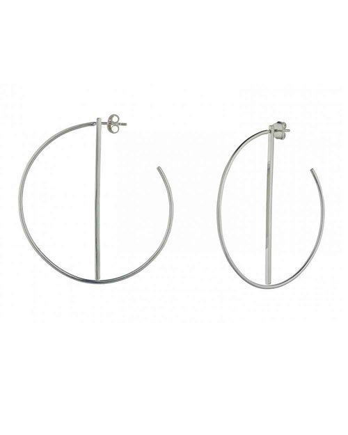 Silver Hoop Earrings With Bar