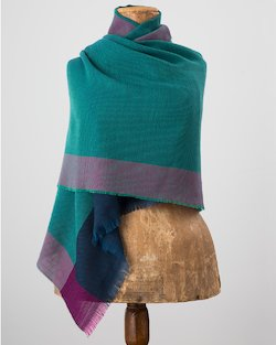 Diamond Divide Worsted Wrap in Teal