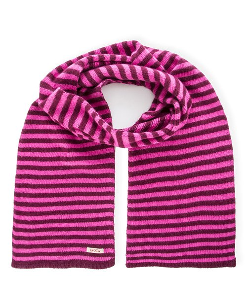 Park Cashmere Wool Blend Knitted Scarf in Pink & Fuchsia