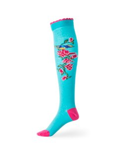 Bird and Flower Knee Sock