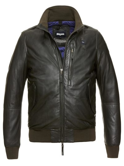 LEATHER AVIATOR BOMBER PADDED JACKET
