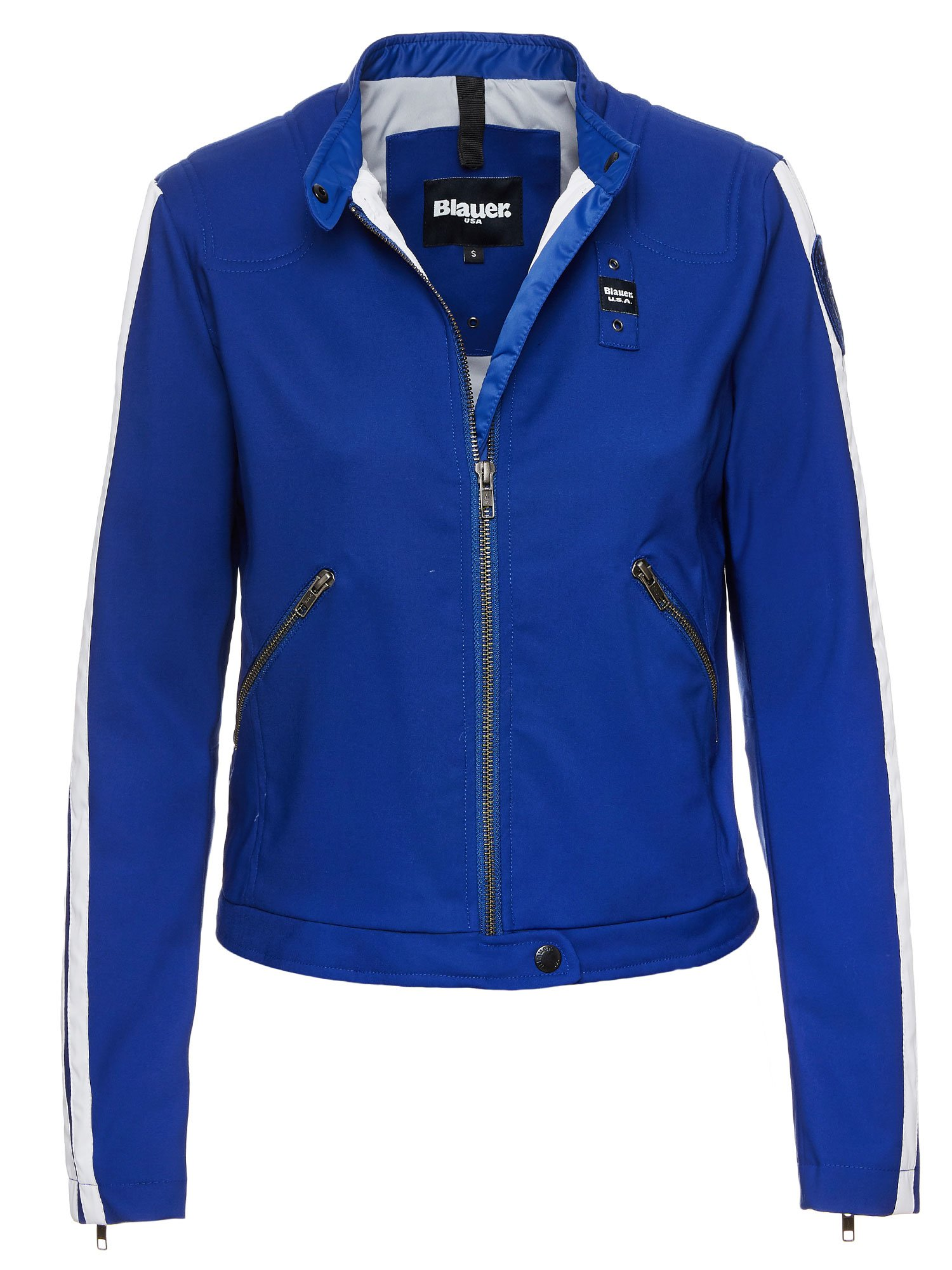 Blauer - VICTORIA COTTON AND NYLON BIKER JACKET - Blue Limoges - Blauer