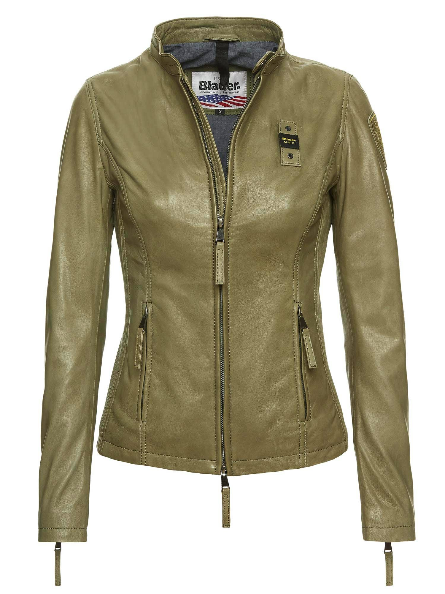 Blauer - HANNAH URBAN BIKER LEATHER JACKET - Green Algae - Blauer