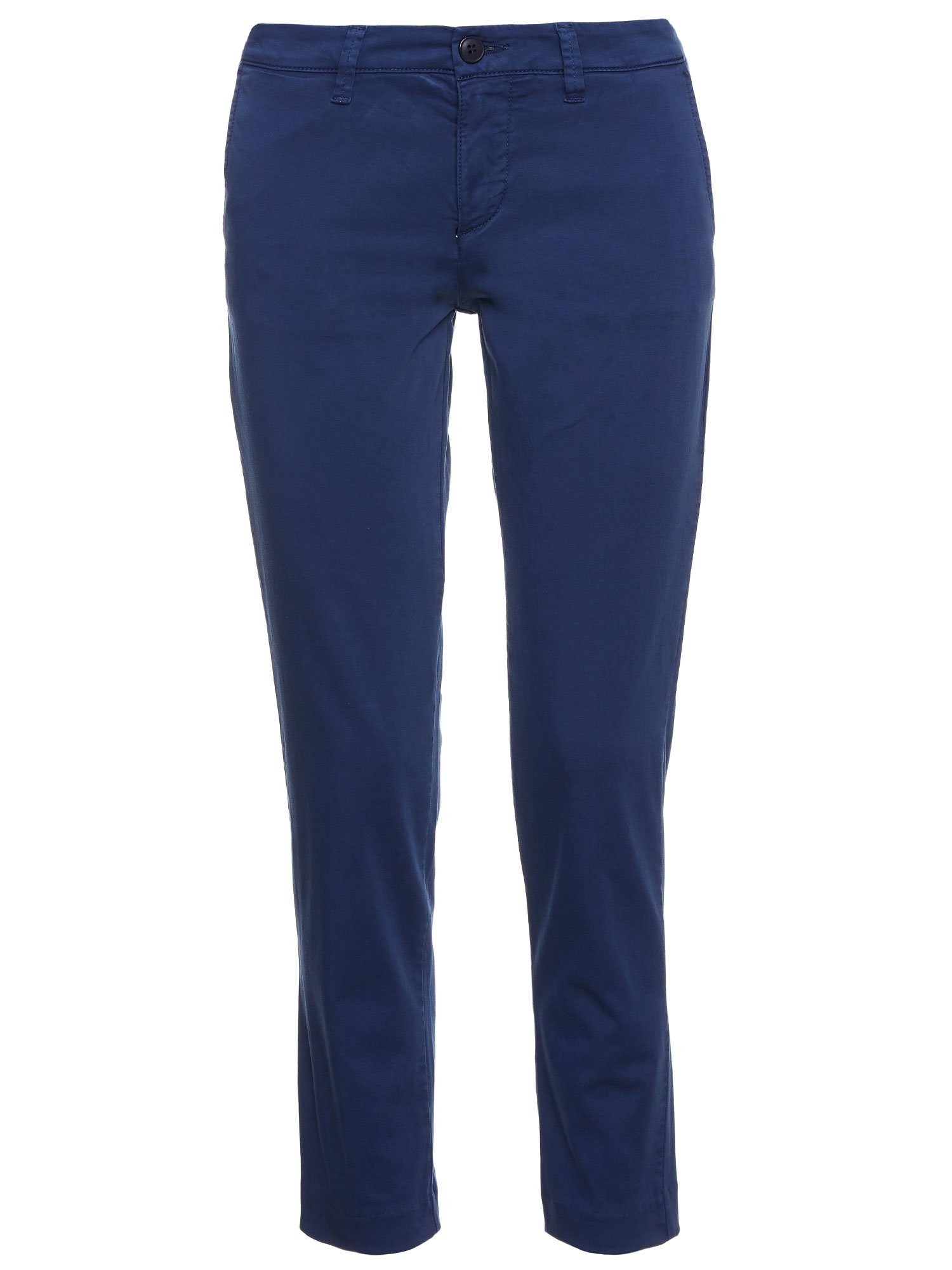 LONG COTTON SATIN TROUSERS - Blue Egeo Sea - Blauer