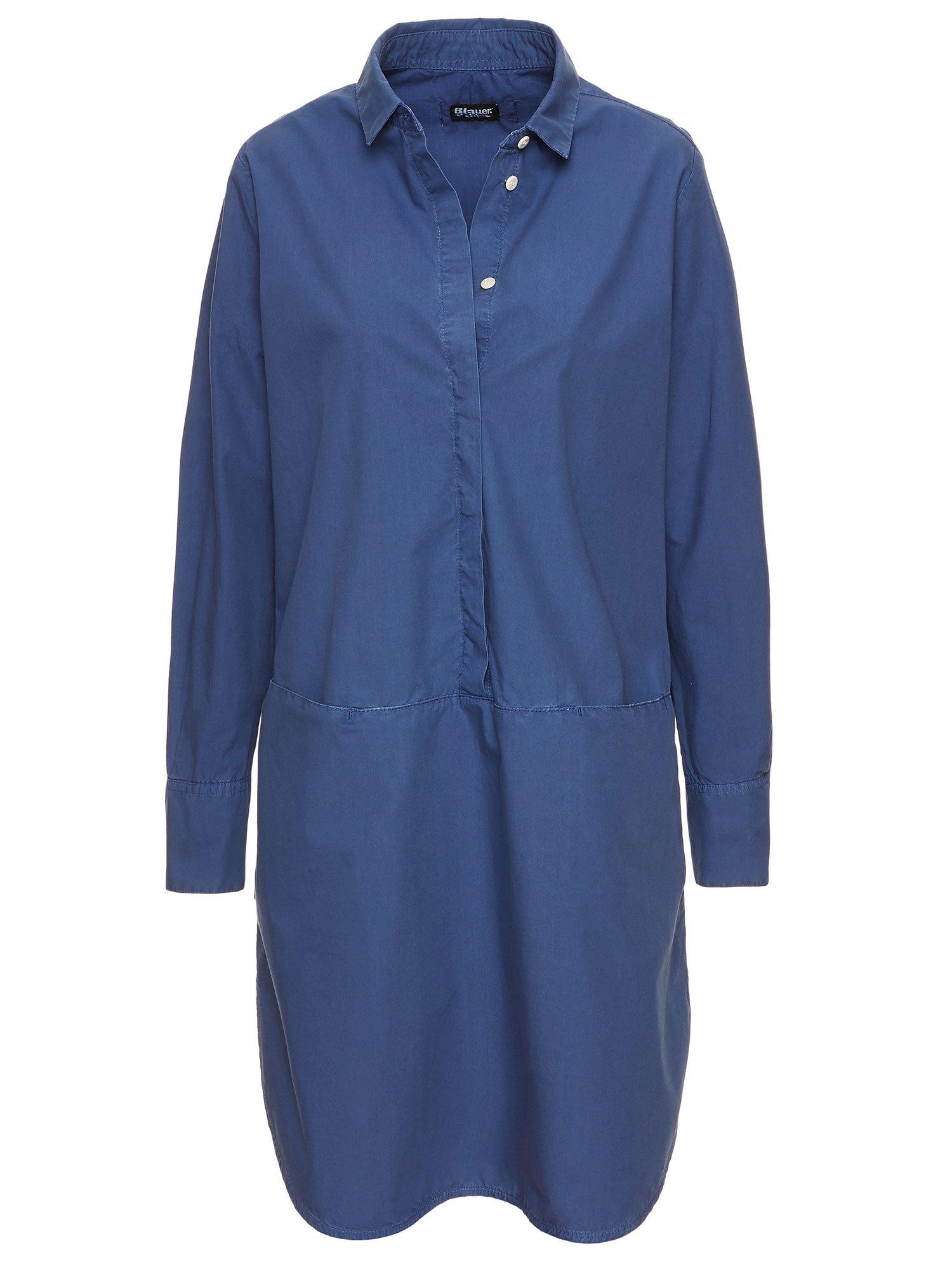Blauer - COTTON POPLIN DRESS - Midnight Blue - Blauer