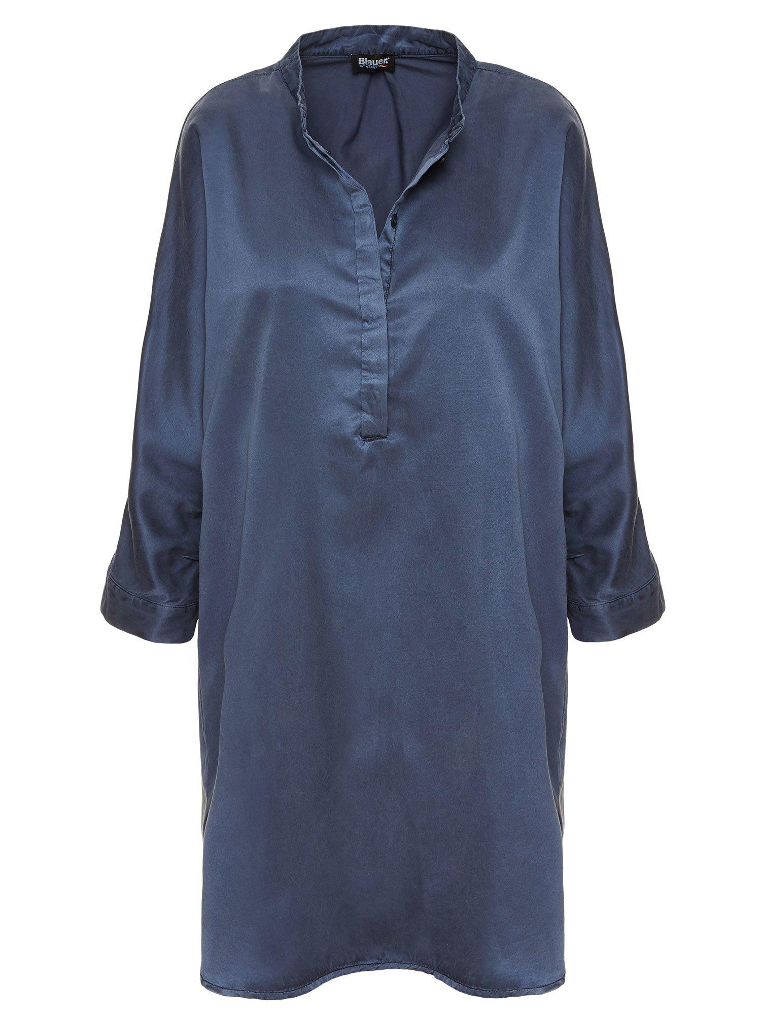 Blauer - COTTON AND SILK DRESS - Blue Egeo Sea - Blauer