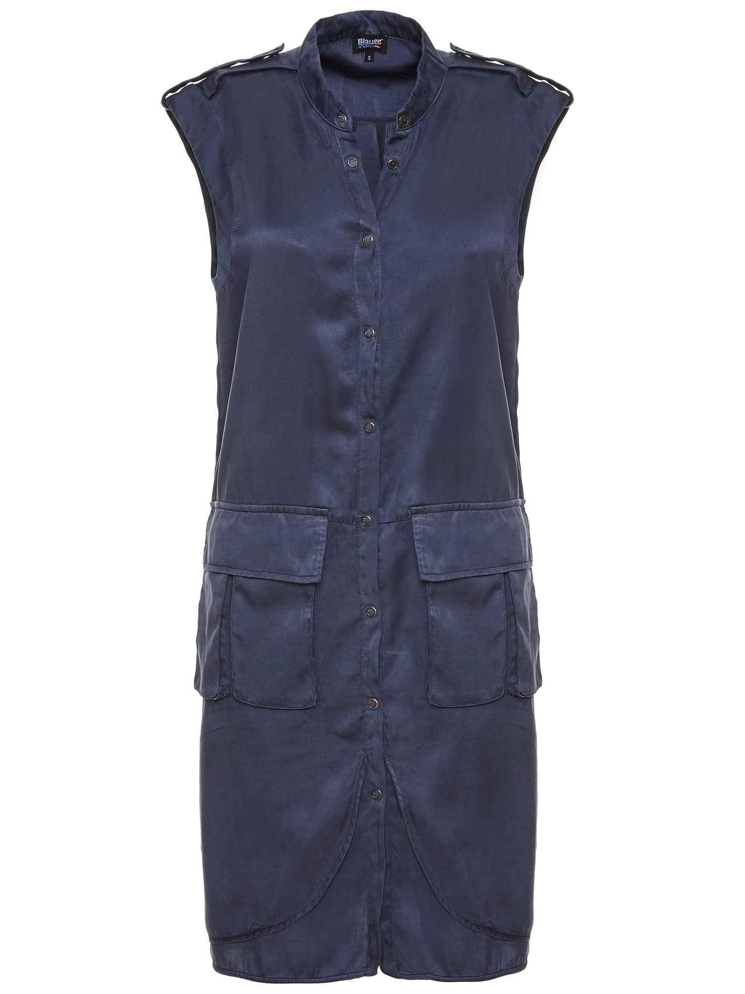 Blauer - SLEEVELESS DRESS WITH LARGE POCKETS - Blue Egeo Sea - Blauer