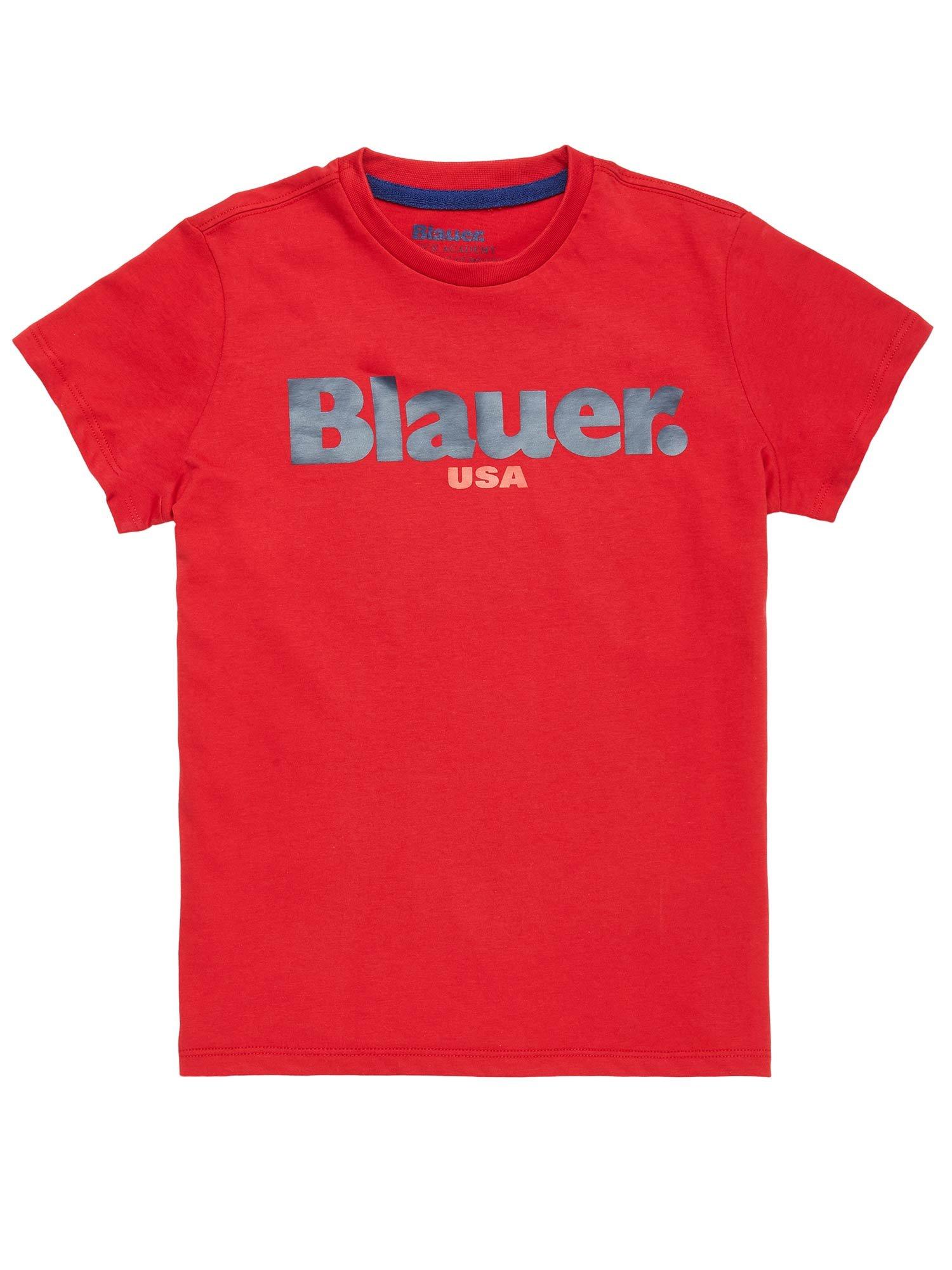 Blauer - T-SHIRT BAMBINO BLAUER USA - Rosso Sangue - Blauer
