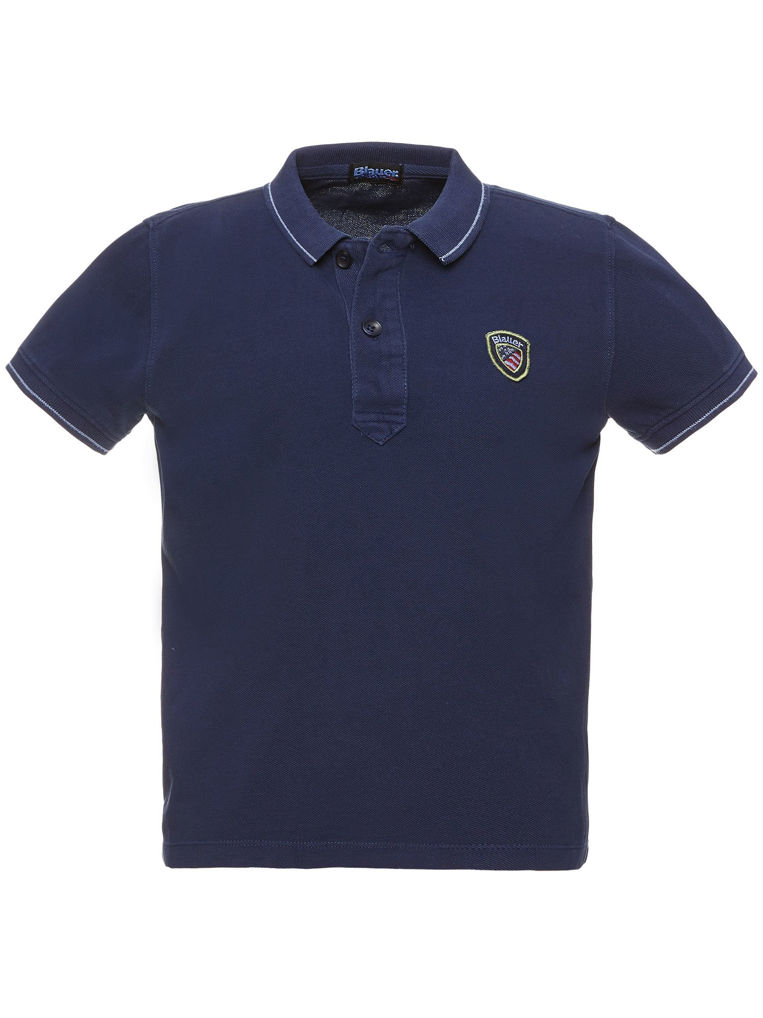 CHILDREN'S PIQUE POLO SHIRT WITH STRIPED RIBBING - Blauer