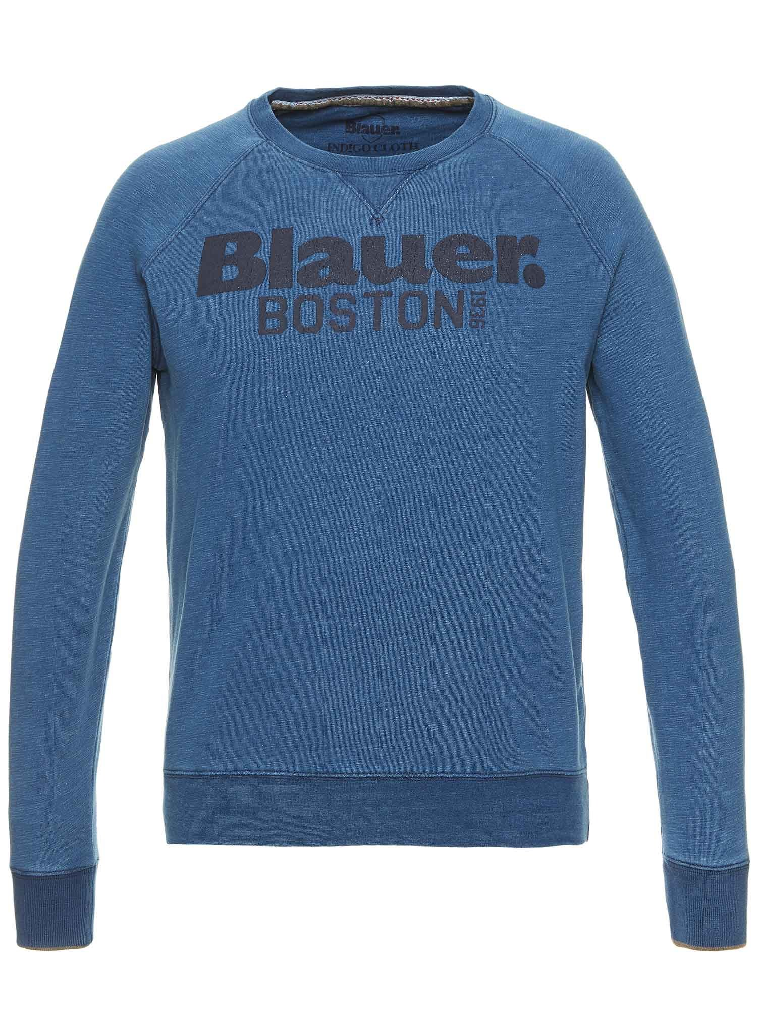 Blauer - FELPA GIROCOLLO BOSTON 1936 - Blu Tamigi - Blauer