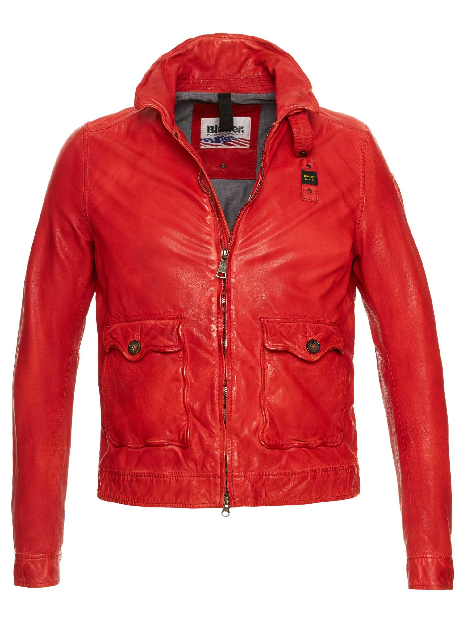 Blauer - ANTHONY COTTON LINED LEATHER JACKET - Red Bloode - Blauer