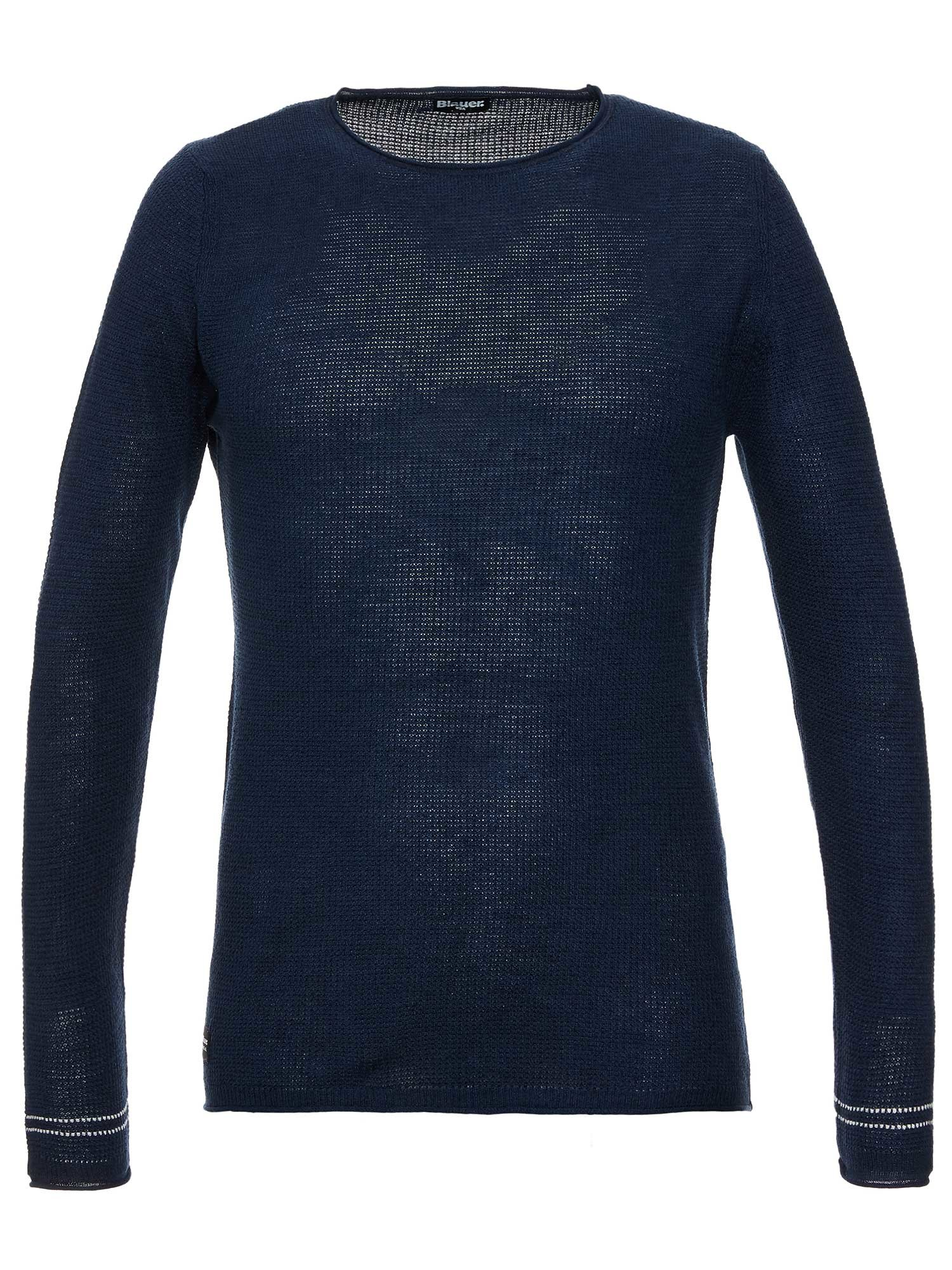LINEN AND COTTON CREWNECK SWEATER - Blauer