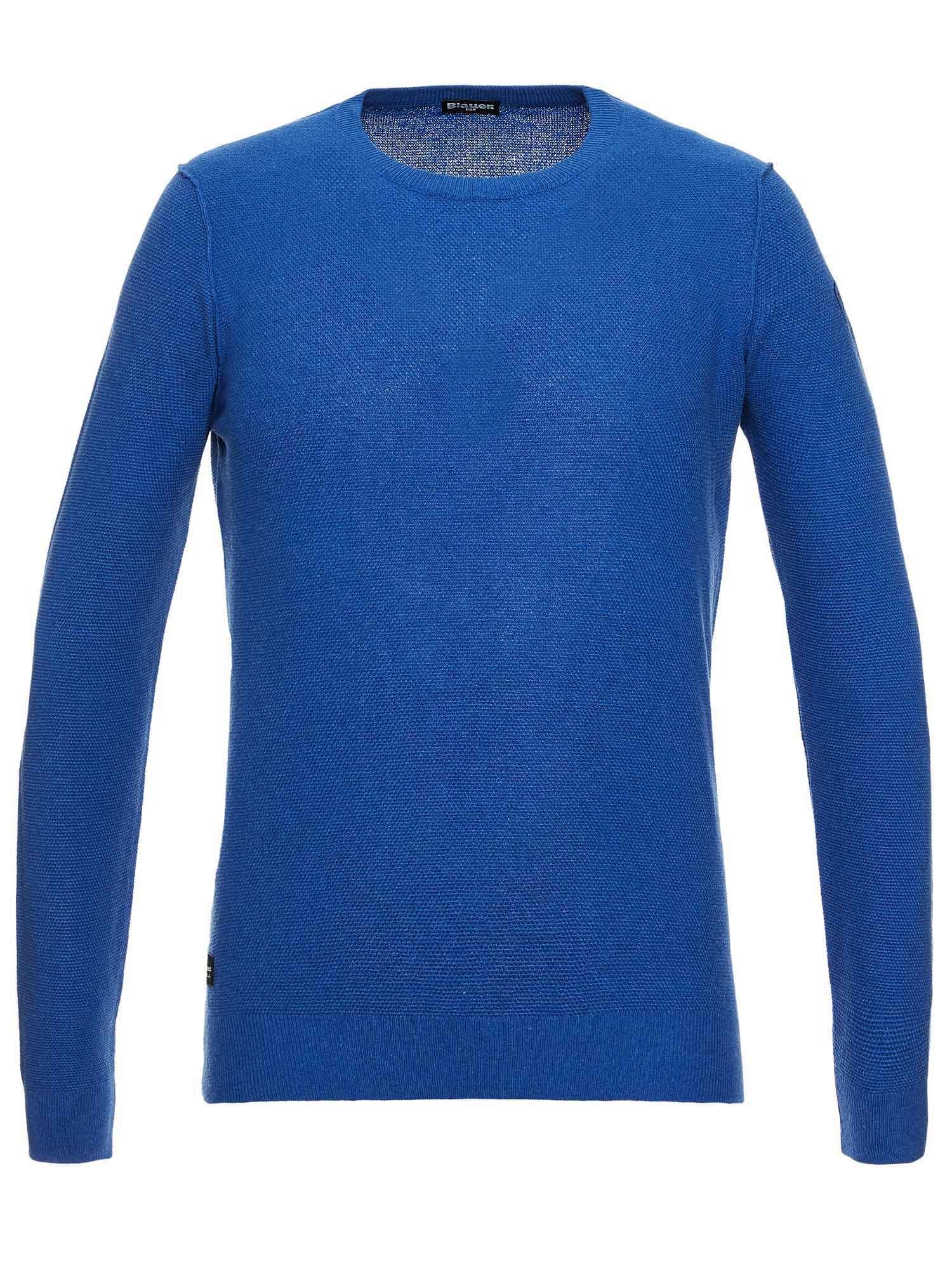 CREW NECK KNIT TOP WITH EMBROIDERED BLAUER LOGO - Blauer