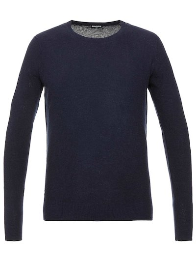 CREW NECK KNIT TOP WITH EMBROIDERED BLAUER LOGO__