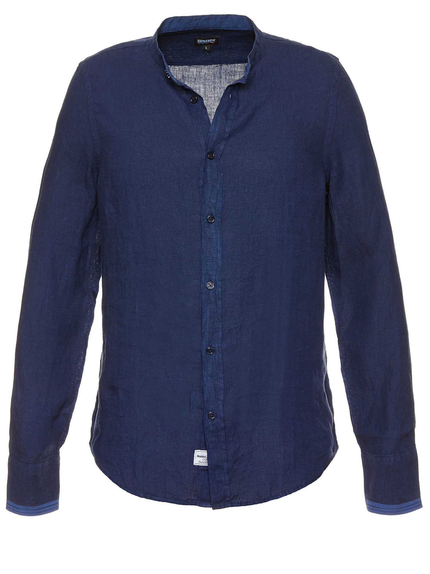 Blauer - LINEN COTTON SHIRT - Blue Egeo Sea - Blauer