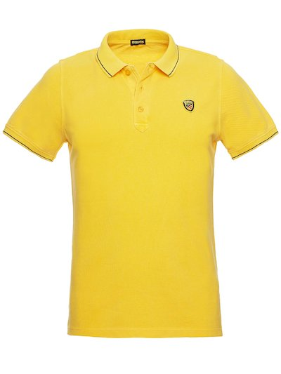 PIQUE POLO SHIRT WITH STRIPED RIBBING