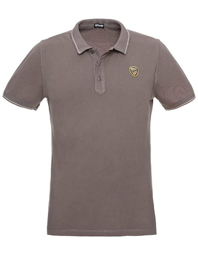 PIQUE POLO SHIRT WITH STRIPED RIBBING__