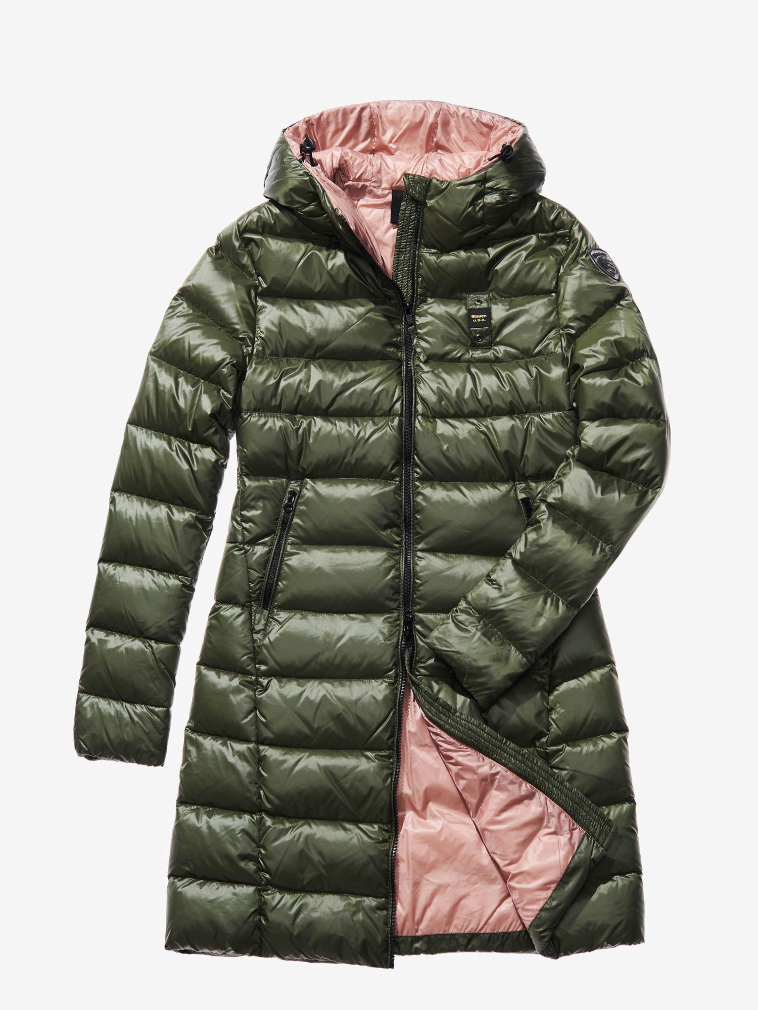 Blauer - VITTORIA HOODED DOWN COAT - Alga Kombu Ins. Pale Rose - Blauer