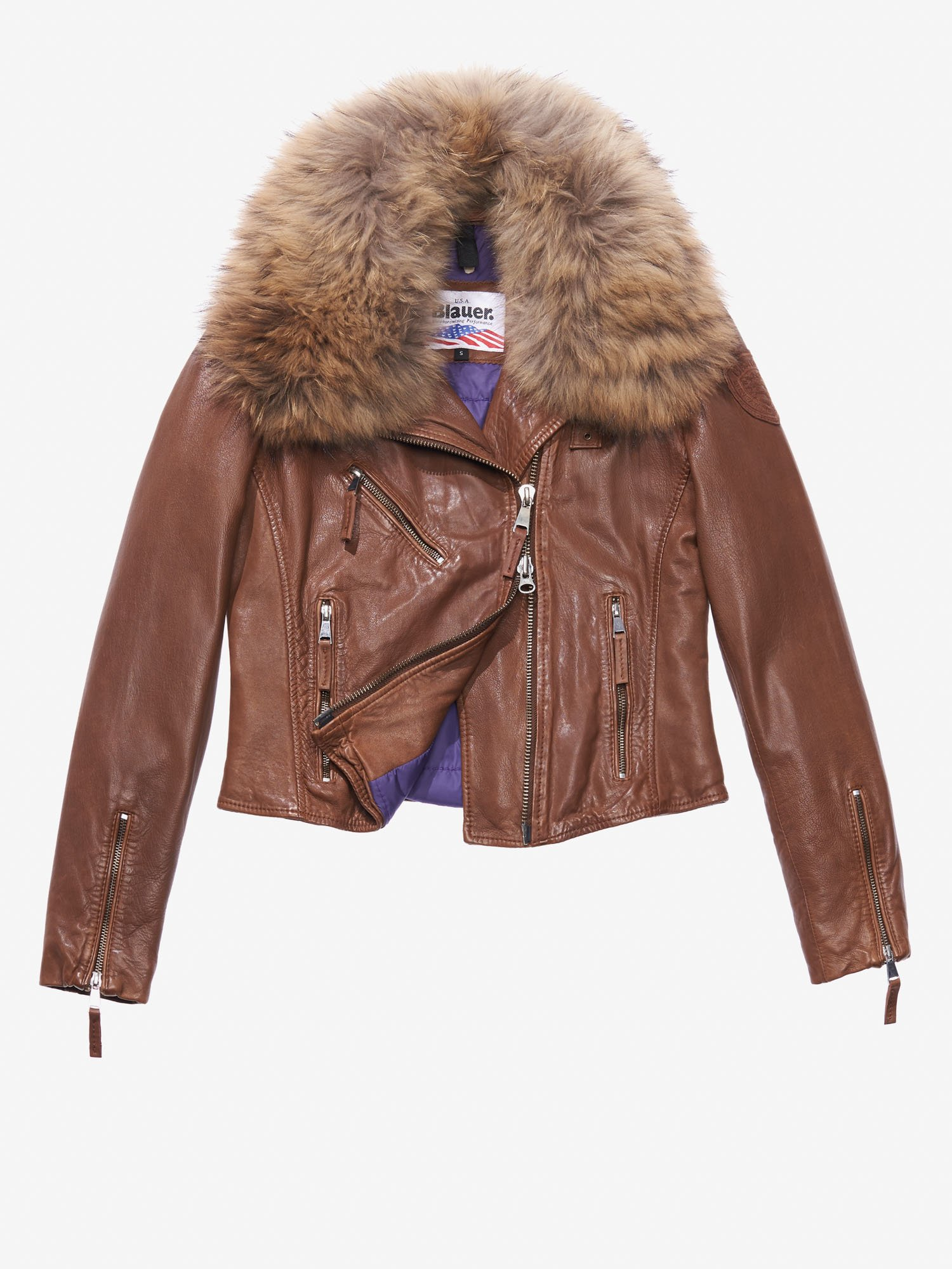 ADELE LEATHER JACKET WITH FUR COLLAR - Blauer