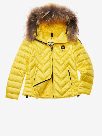 ASIA ZIG ZAG-QUILTED DOWN JACKET WITH ATTACHED HOOD__