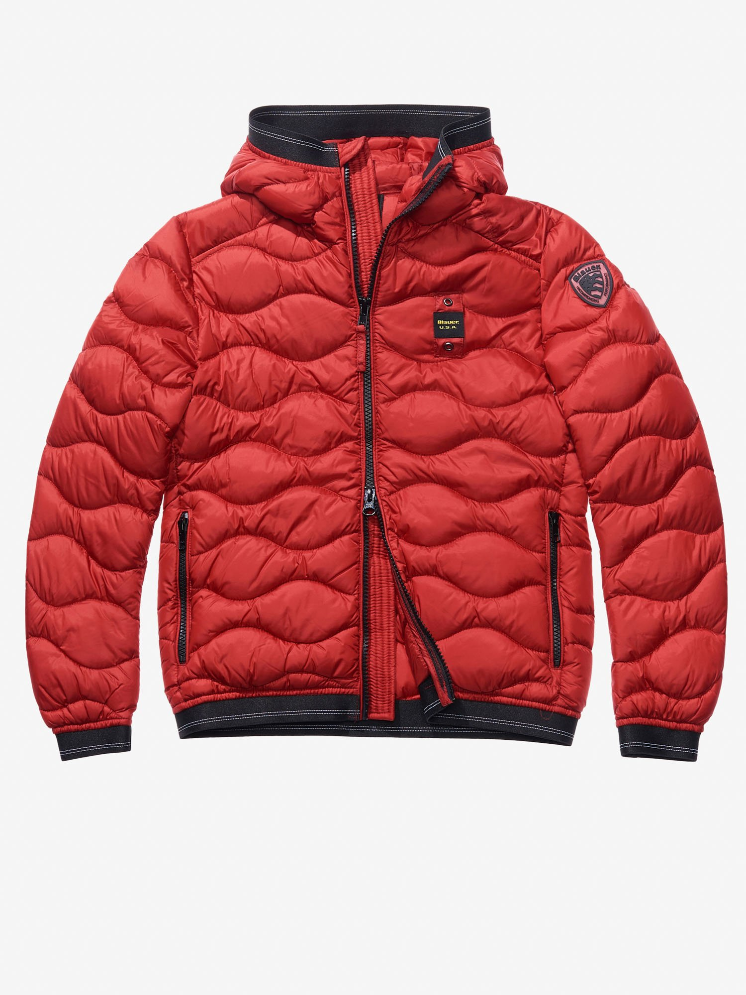 Blauer - ORLANDO WAVE-QUILTED DOWN JACKET WITH HOOD - Red Bloode - Blauer