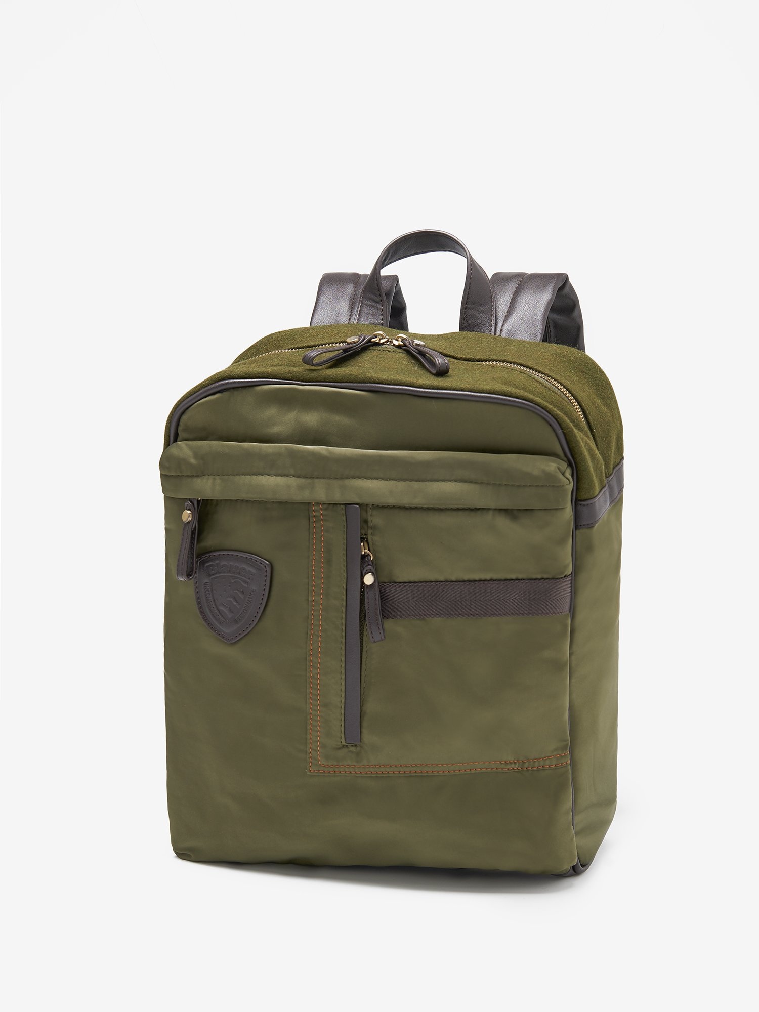 Blauer - FELTY BACKPACK WITH FELT DETAIL - Military Green - Blauer