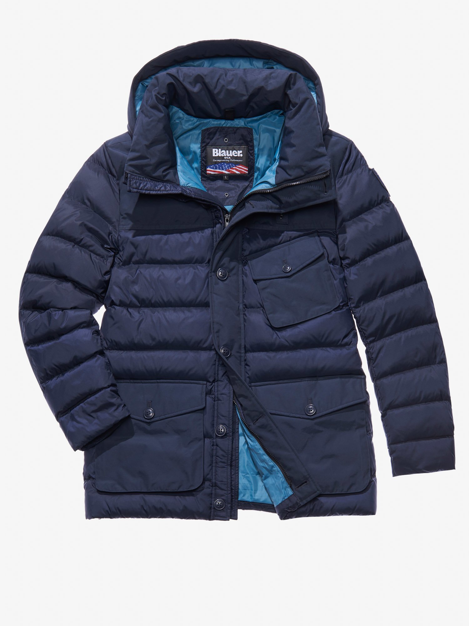 EDOARDO TASLAN RECYCLED DOWN COAT - Blauer