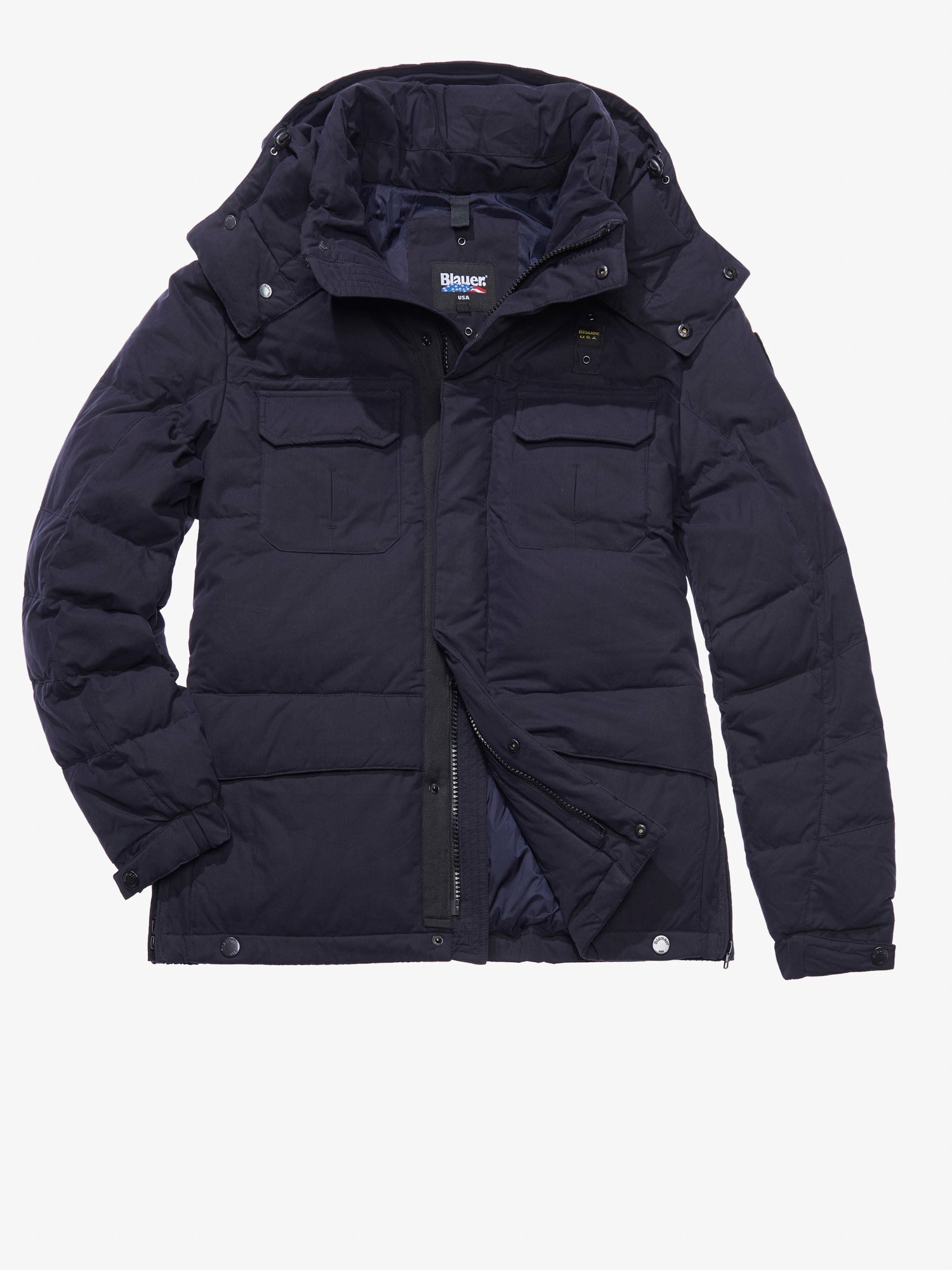 Blauer - GABRIELE COTTON AND NYLON POLICE-STYLE DOWN COAT - blue - 1 ... 96169702949