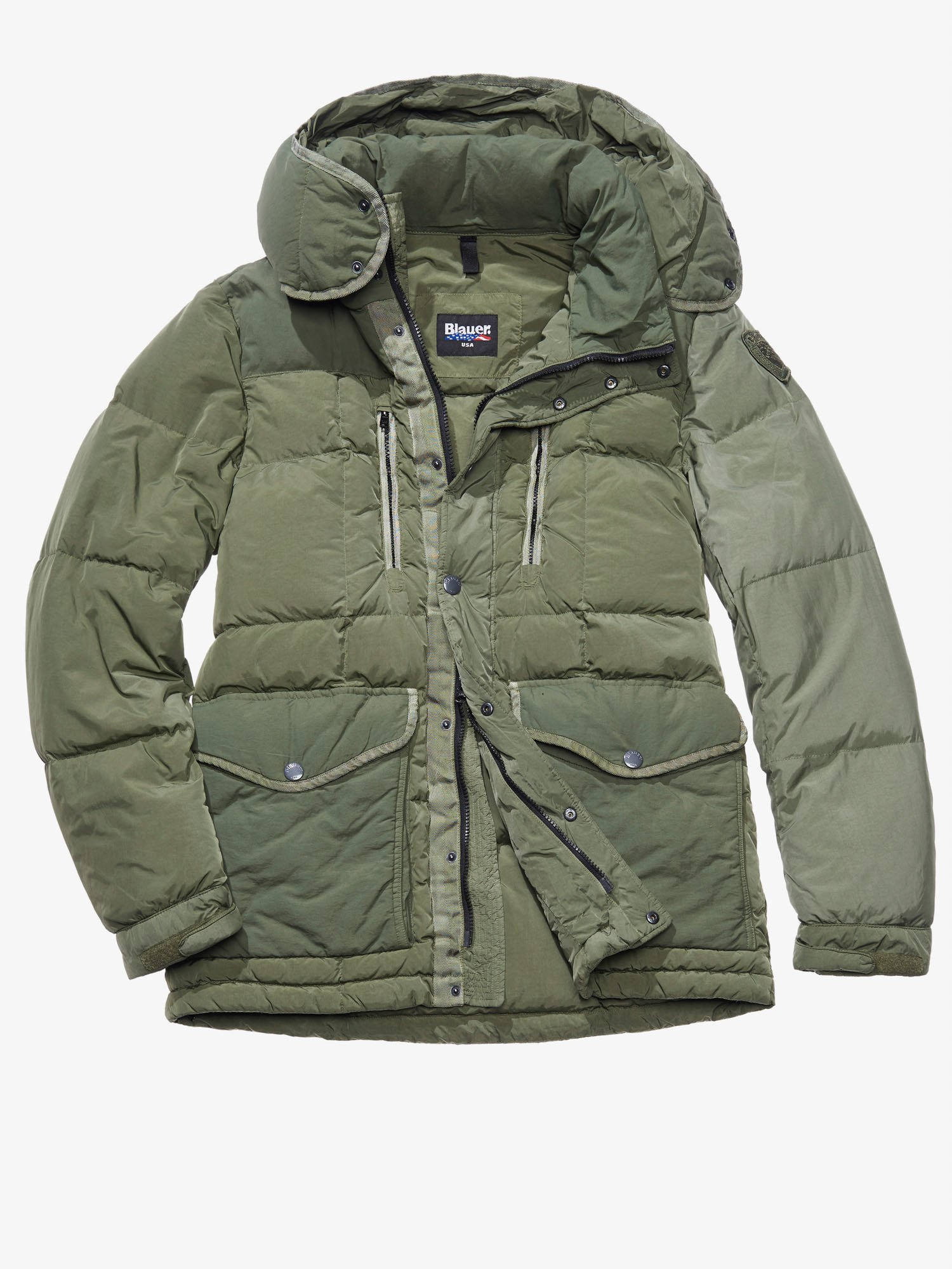 Blauer - FRANCESCO MILITARY-STYLE DOWN COAT - Kombu Algae - Blauer