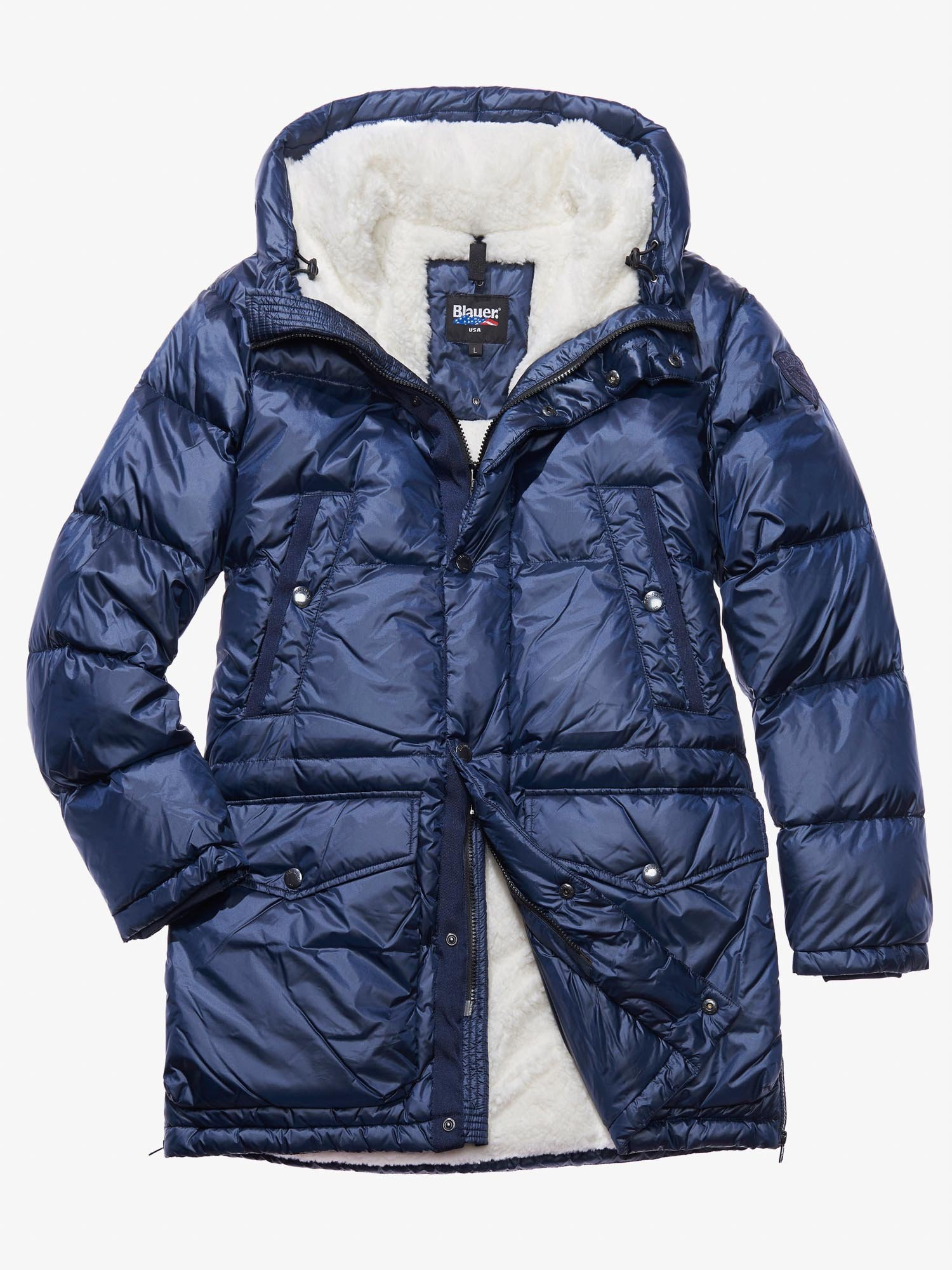 Blauer - LEONARDO DOWN COAT WITH FAUX FUR LINING - blue - Blauer