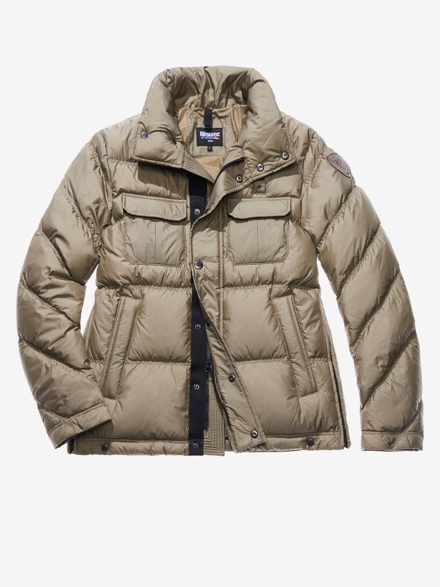 Blauer - GIOVANNI FOUR-POCKET POLICE-STYLE DOWN JACKET - Green Lichen - Blauer