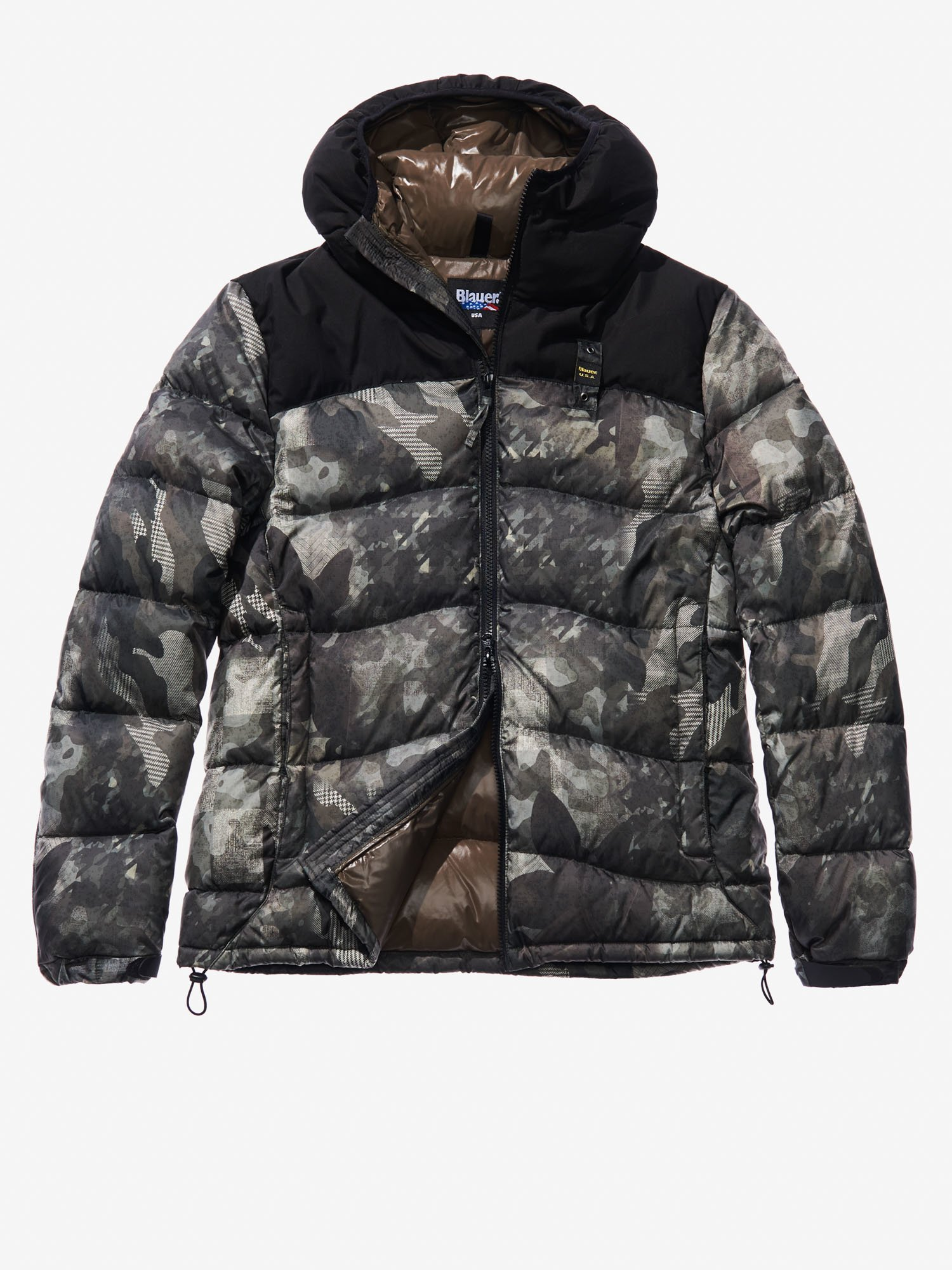 Blauer - NICOLO' COTTON AND NYLON CAMOUFLAGE DOWN JACKET - blue - Blauer