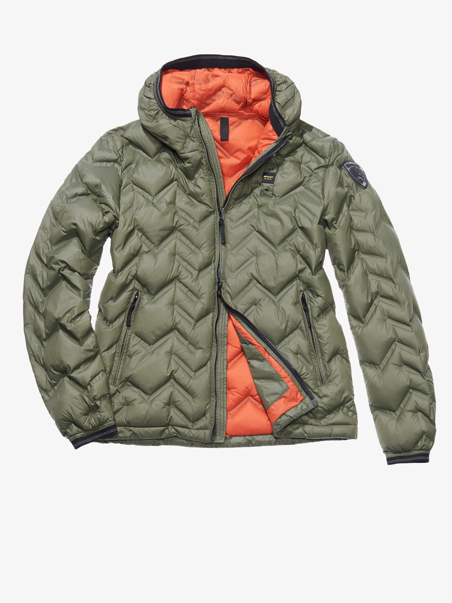 GIULIO ZIG ZAG-QUILTED JACKET WITH DUCK DOWN FILL - Blauer
