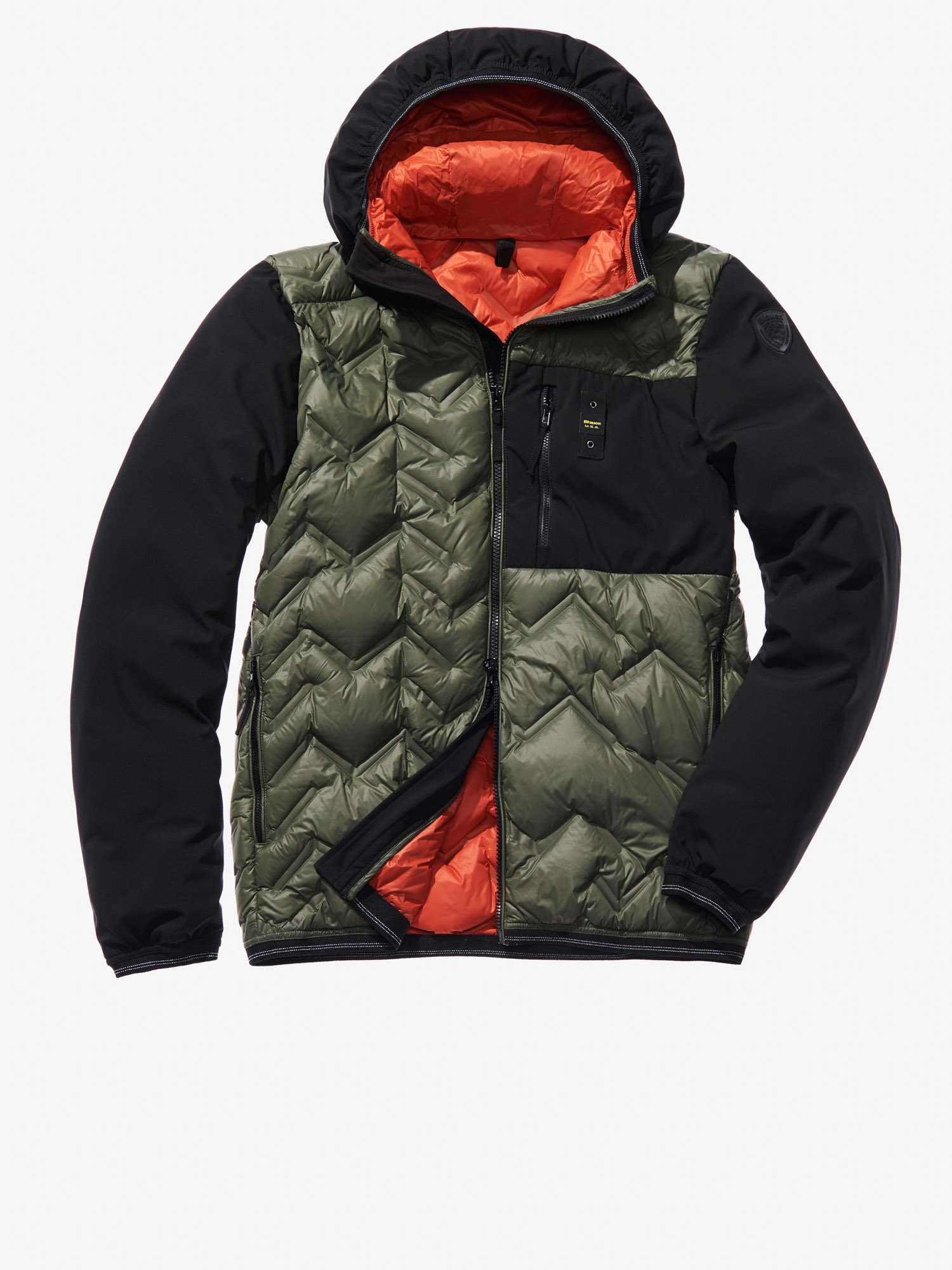MANUEL HIGH NECK NYLON AND SOFTSHELL DOWN JACKET - Blauer