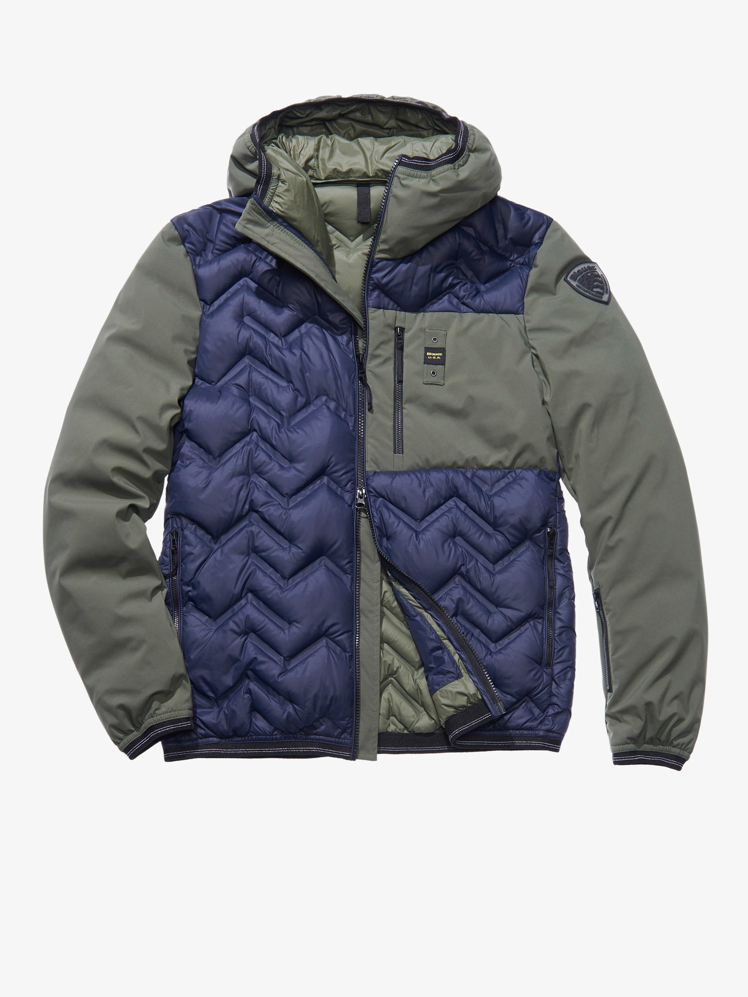 Blauer - MANUEL HIGH NECK NYLON AND SOFTSHELL DOWN JACKET - blue - Blauer