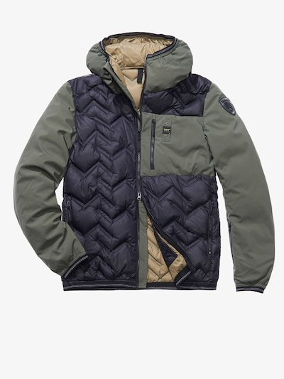 MANUEL HIGH NECK NYLON AND SOFTSHELL DOWN JACKET