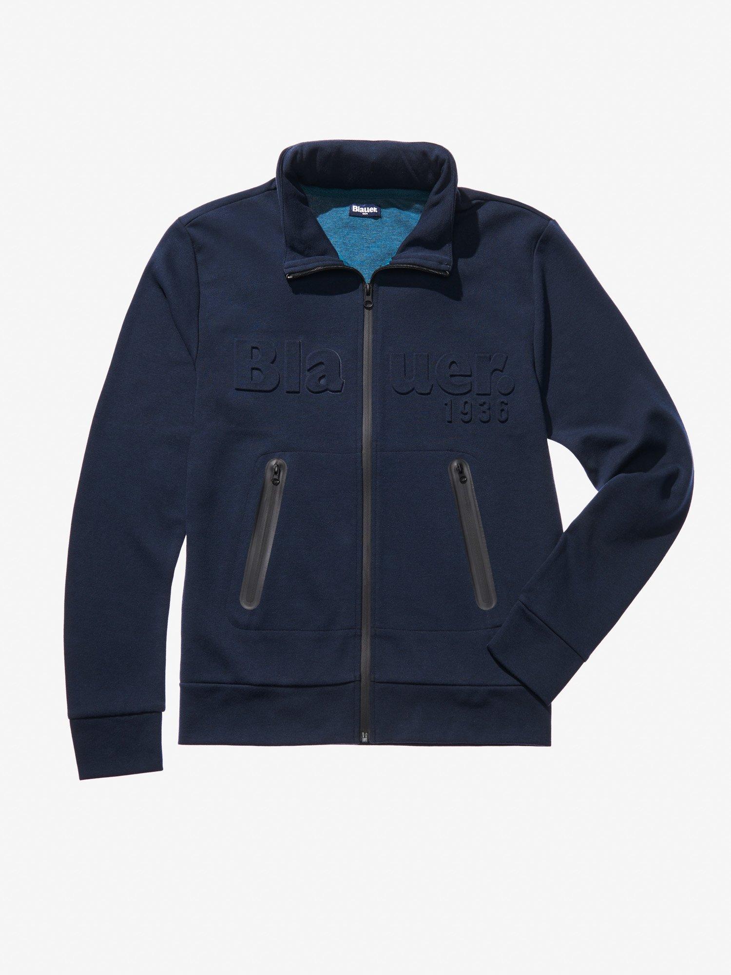 Blauer - OPEN SWEATSHIRT WITH COATED ZIP - blue - Blauer