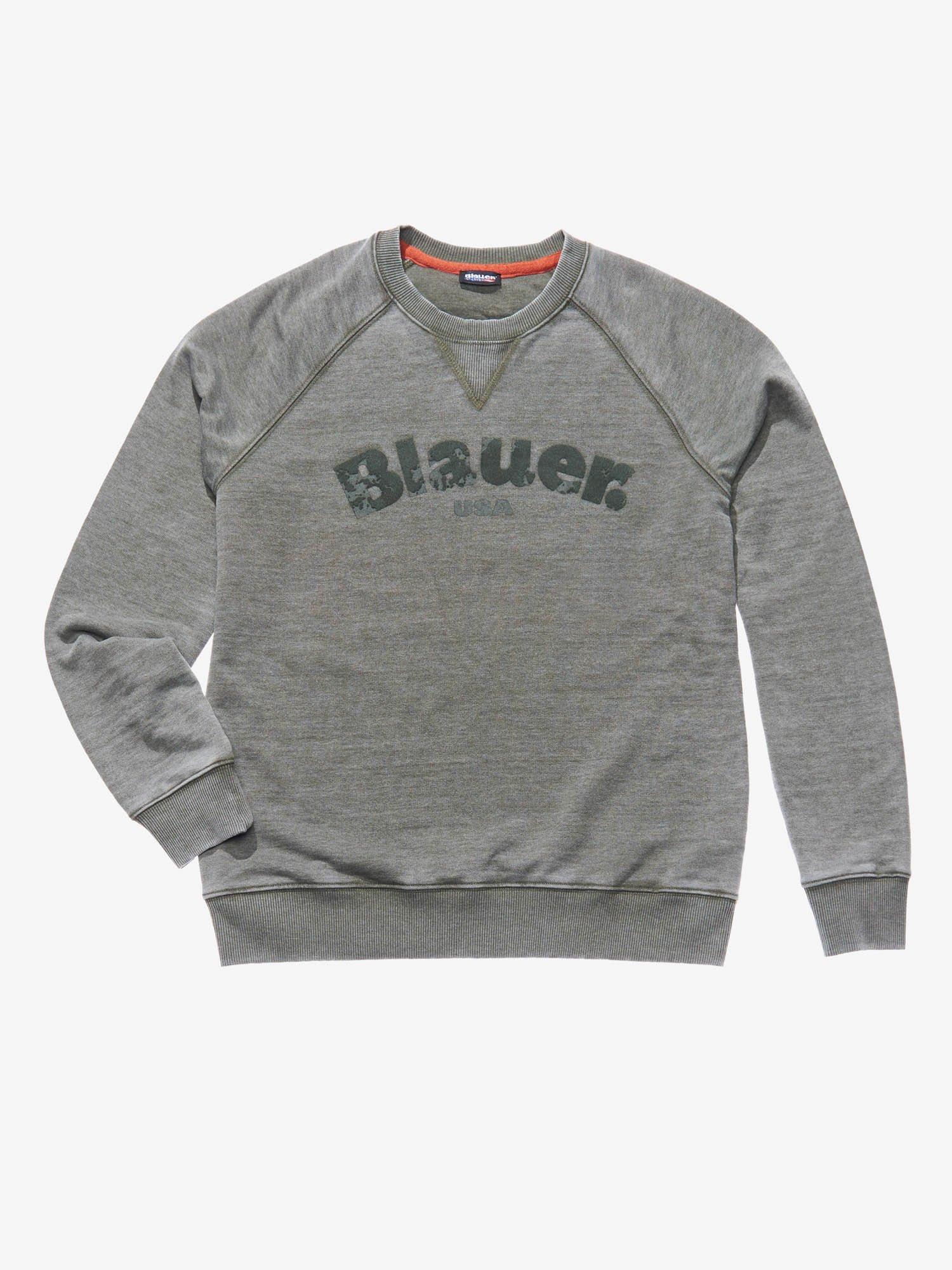 RUNDHALS-SWEATSHIRT BURNOUT - Blauer