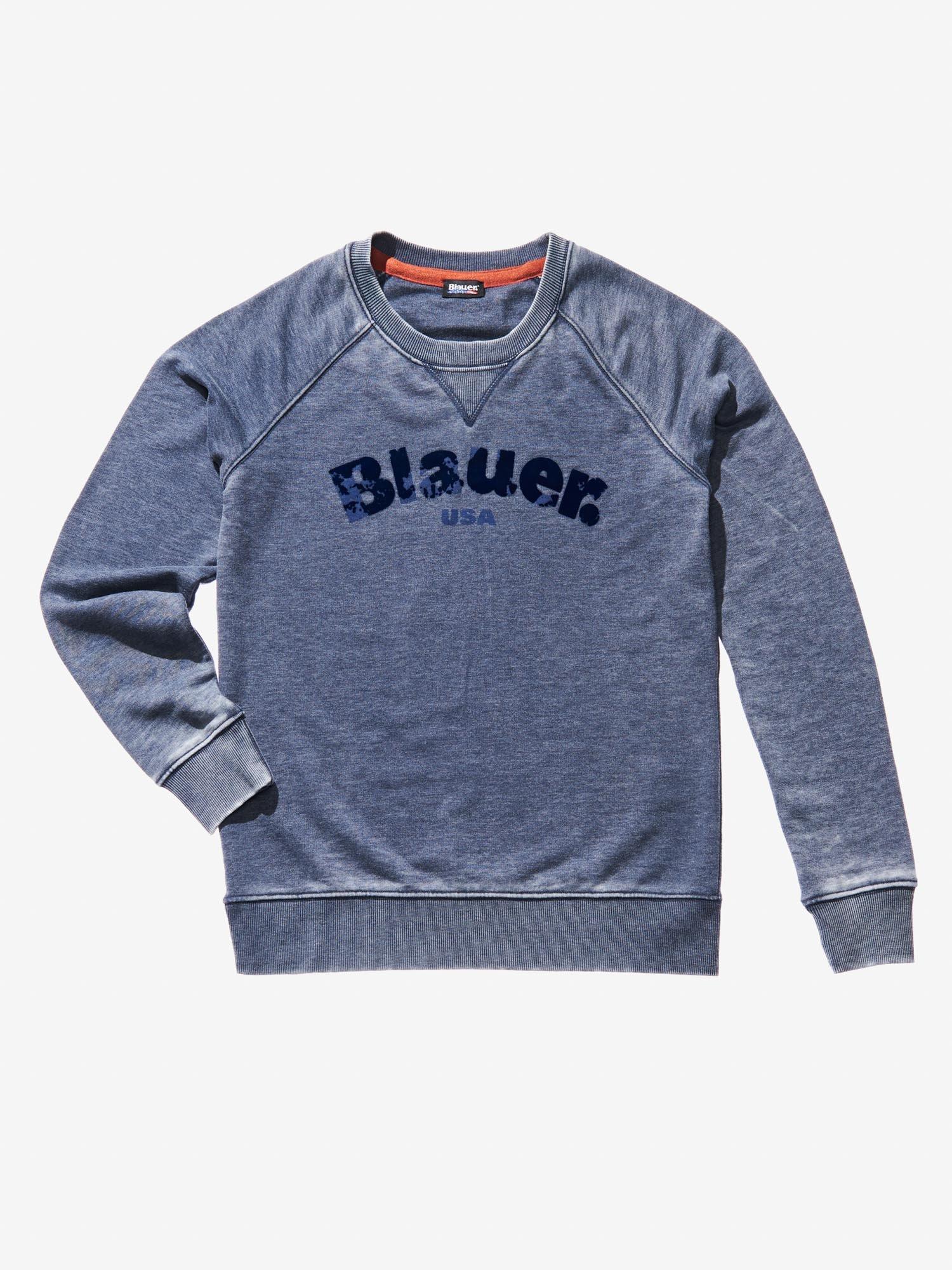 Blauer - FELPA GIROCOLLO BURNOUT - Blu - Blauer