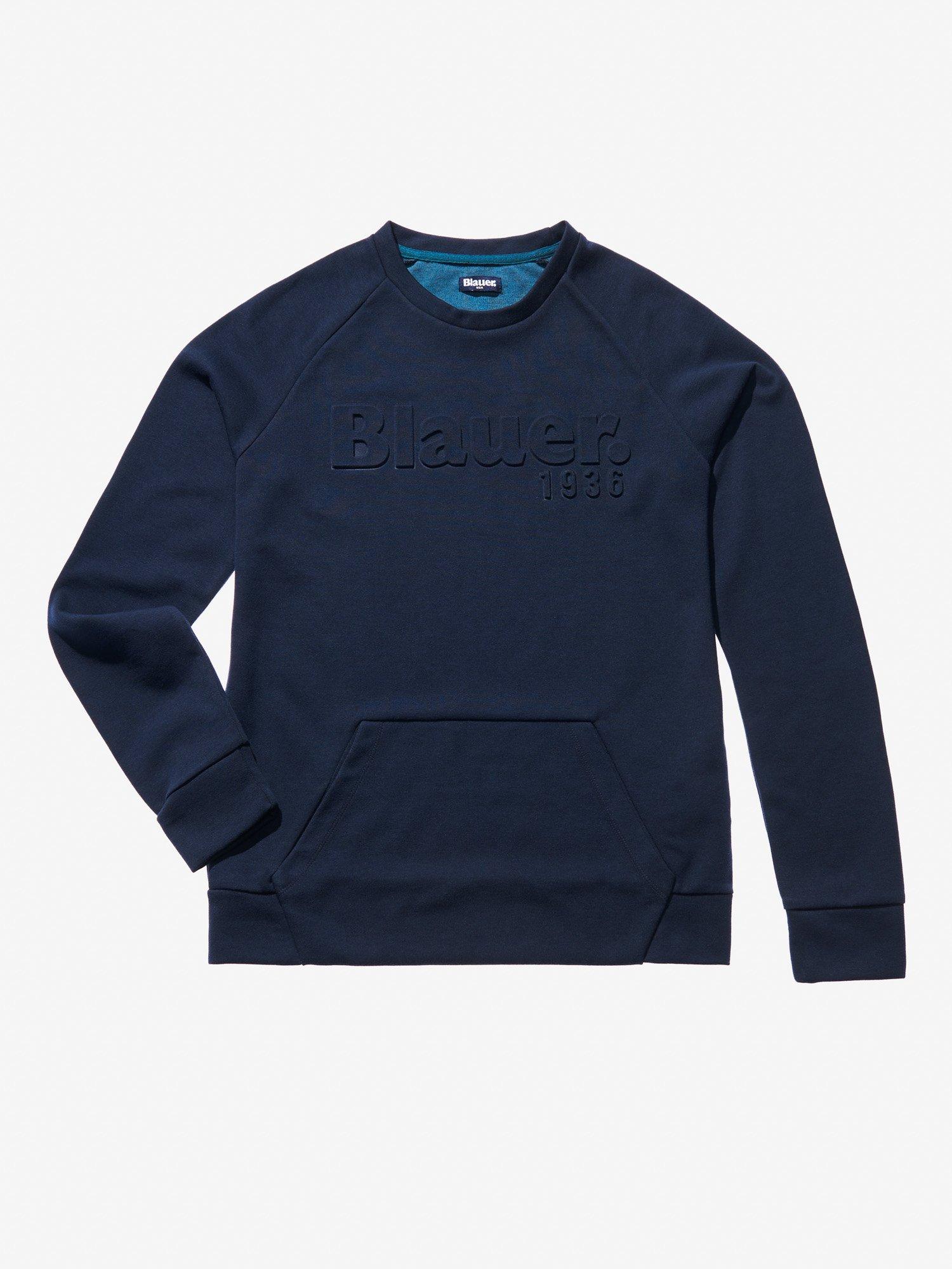 Blauer - CREW NECK SWEATSHIRT WITH POUCH POCKET - blue - Blauer
