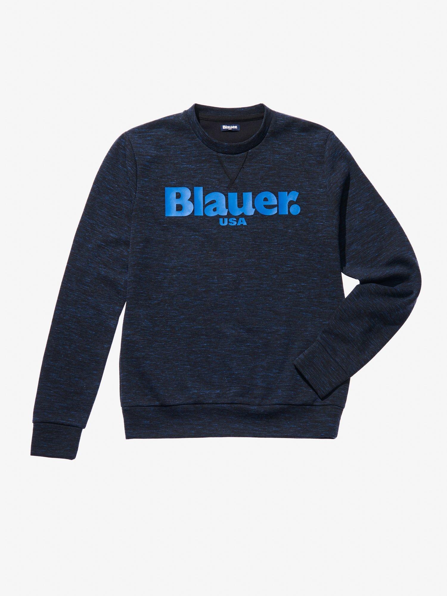 Blauer - FELPA GIROCOLLO FIAMMATA - Blu Scuro Melange - Blauer