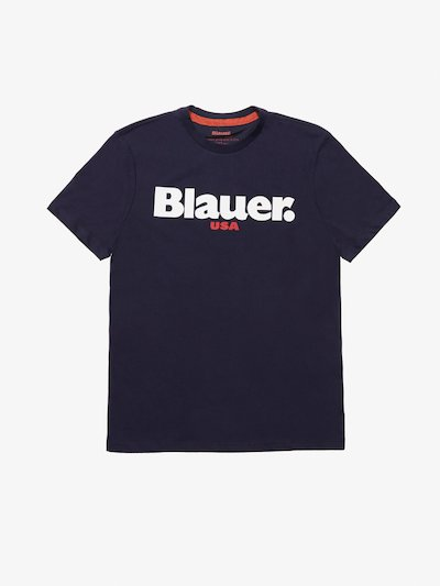 T-SHIRT CARBON WASHED BLAUER USA