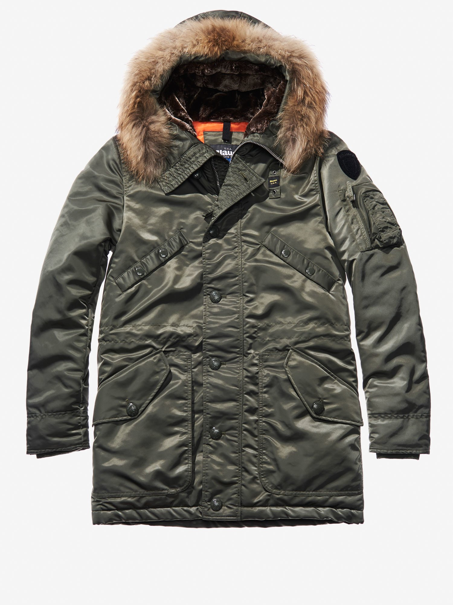 IVAN SHINY SATIN LONG PARKA - Blauer